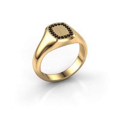 Men's ring Floris Cushion 1 585 gold black diamond 0.18 crt