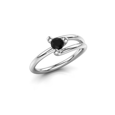 Engagement ring Roosmarijn 585 white gold black diamond 0.30 crt