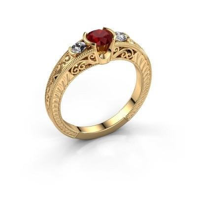 Foto van Promise ring Tasia 375 goud robijn 5 mm