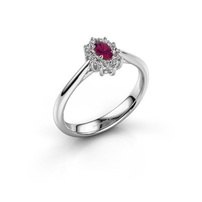 Picture of Engagement ring Leesa 1 925 silver rhodolite 6x4 mm