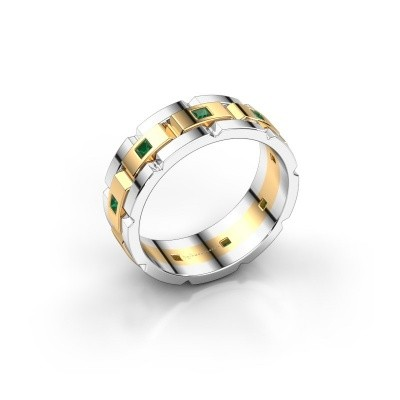 Foto van Heren ring Ricardo 585 goud smaragd 2 mm