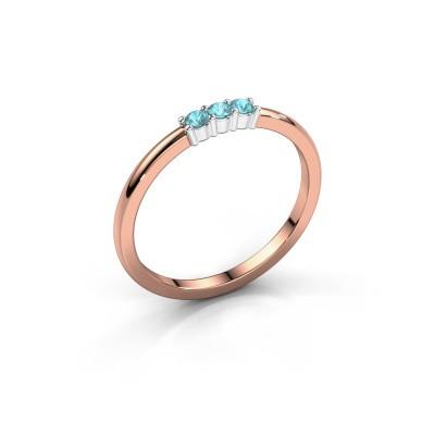Foto van Verlovings ring Yasmin 3 585 rosé goud blauw topaas 2 mm