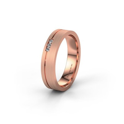 Trouwring WH0156L14X 375 rosé goud diamant ±4,5x1.4 mm