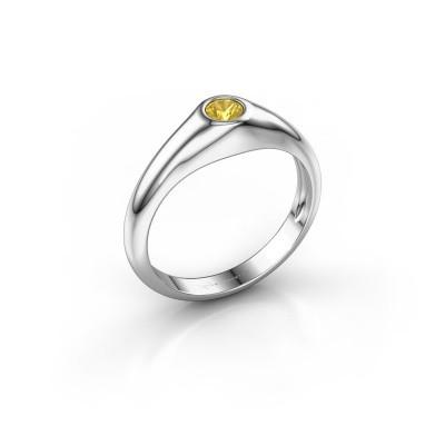 Foto van Pinkring Thorben 925 zilver gele saffier 4 mm