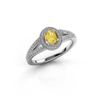 Verlovings ring Angelita OVL 585 witgoud gele saffier 6x4 mm
