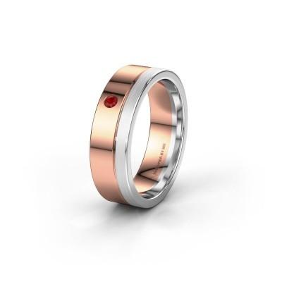 Trouwring WH0301L16APM 585 rosé goud robijn ±6x1.7 mm