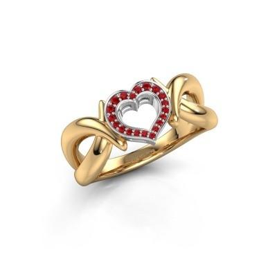 Ring Earlie 1 585 goud robijn 1.1 mm