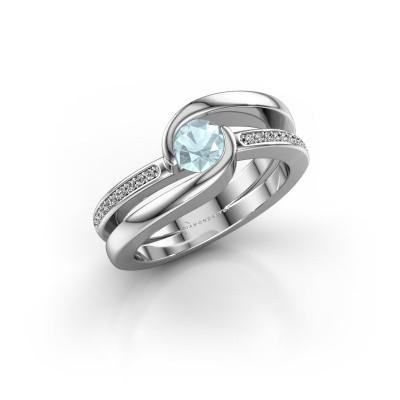 Foto van Ring Xenia 2 925 zilver aquamarijn 5 mm