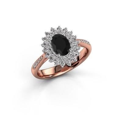 Aanzoeksring Alina 2 585 rosé goud zwarte diamant 0.96 crt