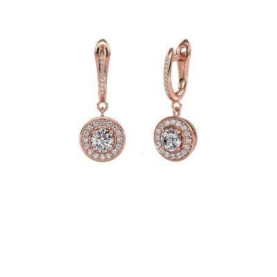 Oorhangers Ninette 2 585 rosé goud zirkonia 5 mm