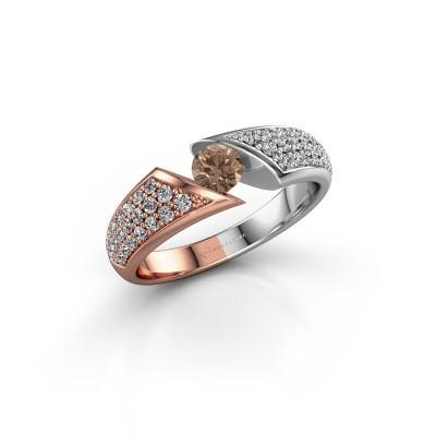 Engagement ring Hojalien 3 585 rose gold brown diamond 0.73 crt