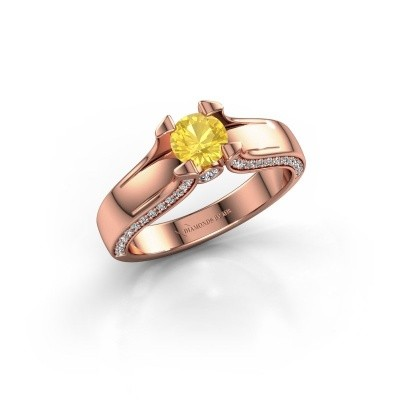 Foto van Verlovingsring Jeanne 1 375 rosé goud gele saffier 5 mm