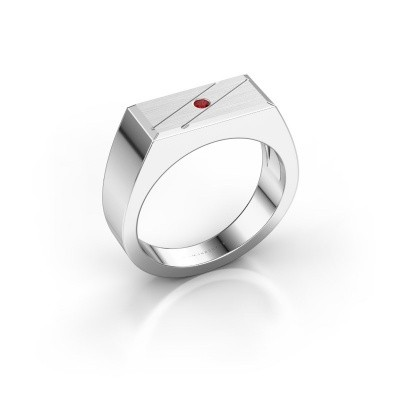 Men's ring Dree 3 585 white gold ruby 2 mm