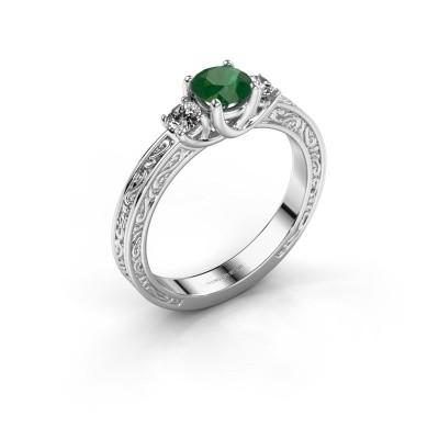 Verlovingsring Betty 1 585 witgoud smaragd 5 mm