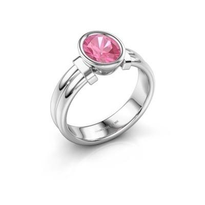 Ring Gerda 925 zilver roze saffier 8x6 mm