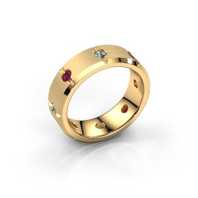 Men's ring Irwin 585 gold rhodolite 2.7 mm
