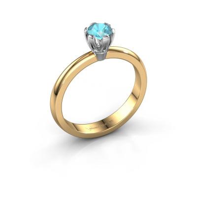 Verlovingsring Julia 585 goud blauw topaas 4 mm