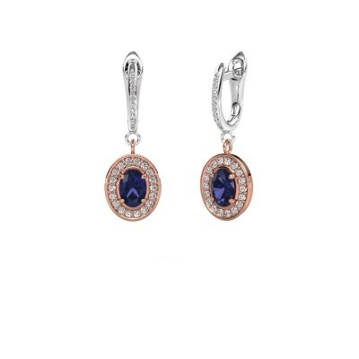 Picture of Drop earrings Layne 2 585 rose gold sapphire 7x5 mm