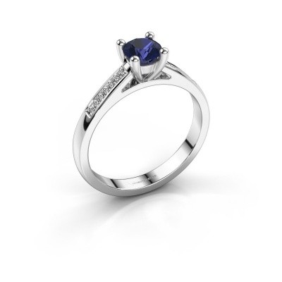 Engagement ring Nynke 585 white gold sapphire 4.7 mm