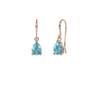 Picture of Drop earrings Laurie 1 375 rose gold blue topaz 8x5 mm