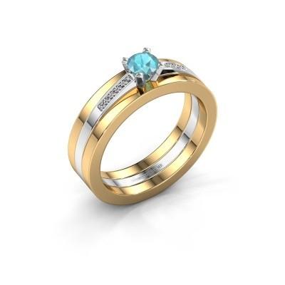 Foto van Verlovings ring Celeste 585 witgoud blauw topaas 4 mm