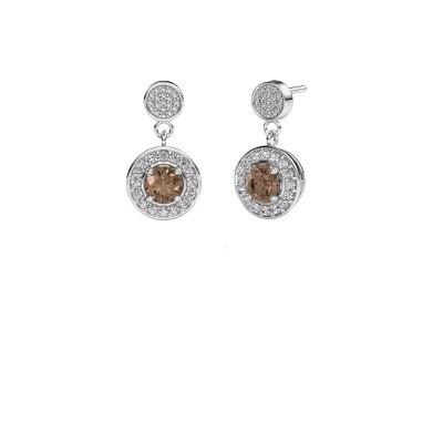 Foto van Oorbellen Ebonie 950 platina bruine diamant 1.479 crt