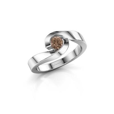 Foto van Ring Sheryl 585 witgoud bruine diamant 0.25 crt