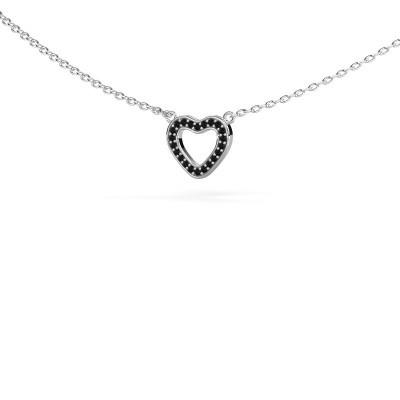 Foto van Hanger Heart 4 585 witgoud zwarte diamant 0.066 crt