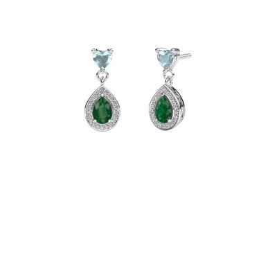 Picture of Drop earrings Susannah 950 platinum emerald 6x4 mm