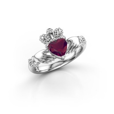 Foto van Ring Claddagh 2 950 platina rhodoliet 6 mm