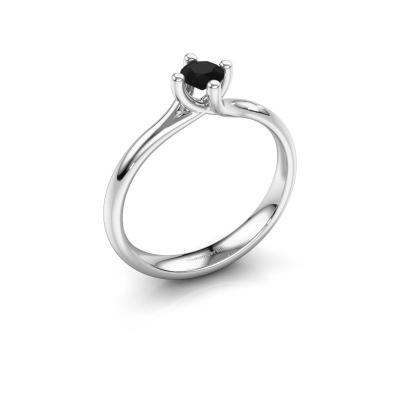 Bague de fiançailles Dewi Round 585 or blanc diamant noir 0.30 crt
