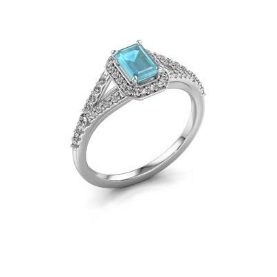 Verlovingsring Pamela EME 925 zilver blauw topaas 6x4 mm