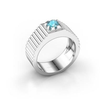 Pink ring Elias 950 platina blauw topaas 5 mm
