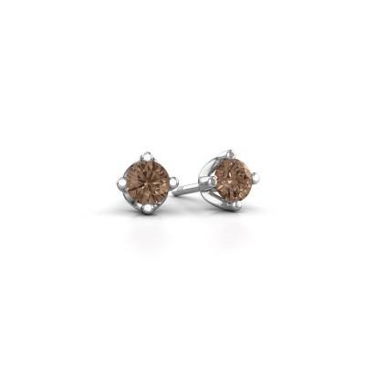 Foto van Oorknopjes Briana 950 platina bruine diamant 0.20 crt