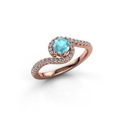 Engagement ring Elli 375 rose gold blue topaz 5 mm