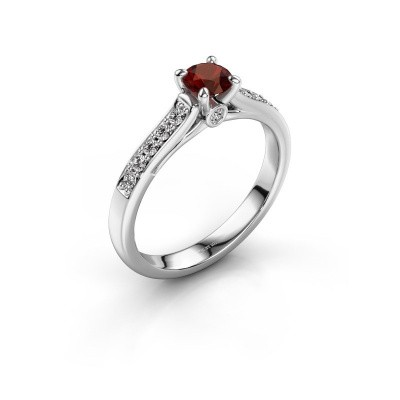 Engagement ring Valorie 2 950 platinum garnet 4.7 mm