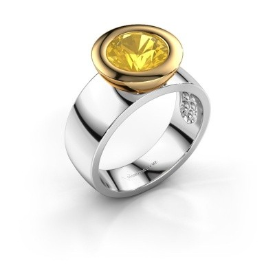 Ring Maxime 585 witgoud gele saffier 8 mm