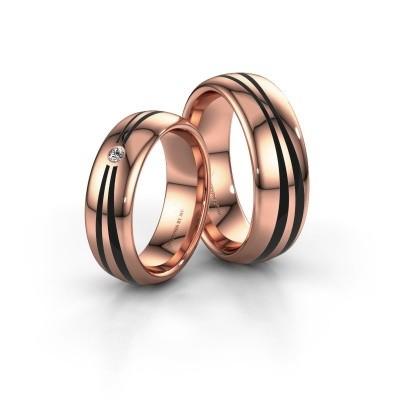 Foto van Huwelijksringen set WH2226LM36BP ±6x2 mm 14 karaat rosé goud zwarte emaille 1 mm