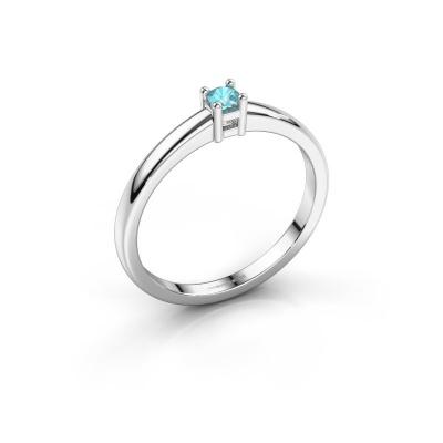 Promise ring Eline 1 585 witgoud blauw topaas 3 mm