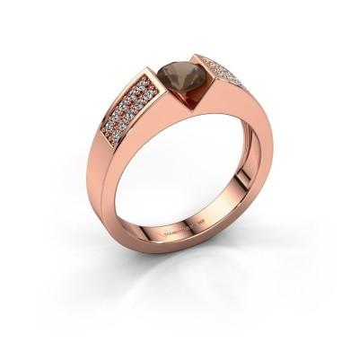 Verlovingsring Lizzy 3 375 rosé goud rookkwarts 5 mm