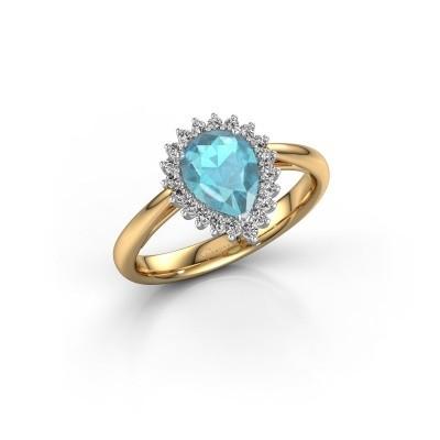 Foto van Verlovingsring Tilly per 1 585 goud blauw topaas 8x6 mm