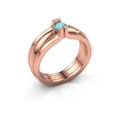 Foto van Ring Jade 585 rosé goud blauw topaas 4 mm