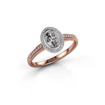Verlovingsring Noud 2 OVL 585 rosé goud diamant 0.64 crt