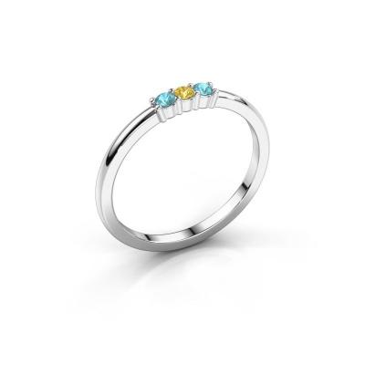 Verlovings ring Yasmin 3 950 platina gele saffier 2 mm