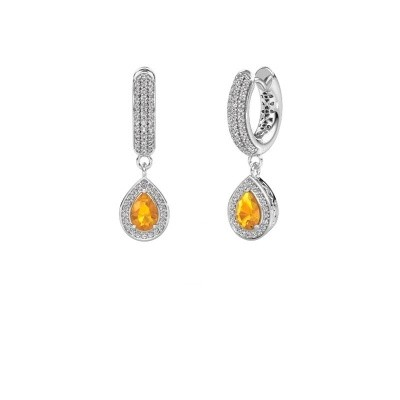 Picture of Drop earrings Barbar 2 950 platinum citrin 6x4 mm