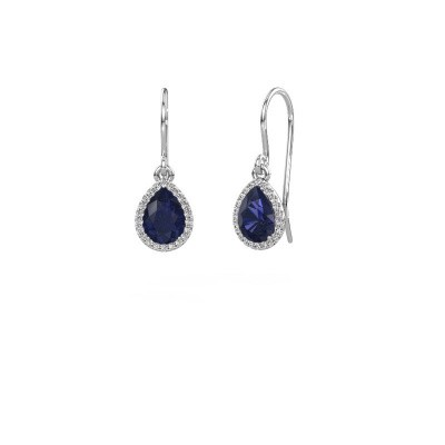 Picture of Drop earrings Seline per 375 white gold sapphire 7x5 mm