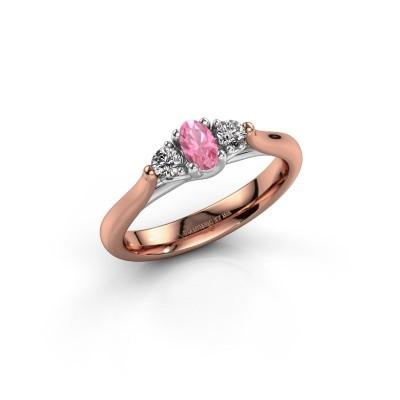 Verlovingsring Jente OVL 585 rosé goud roze saffier 5x3 mm