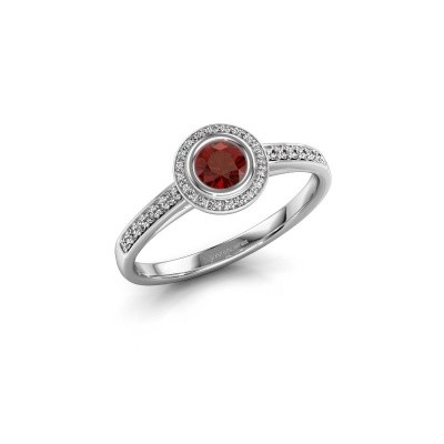 Engagement ring Noud 2 RND 585 white gold garnet 4 mm
