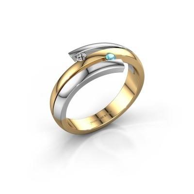 Ring Dena 585 goud blauw topaas 2 mm