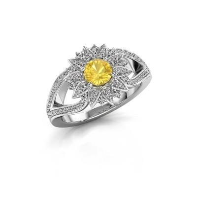 Picture of Engagement ring Chasidy 2 585 white gold yellow sapphire 5 mm